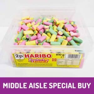 haribo rhubarb and custard tub