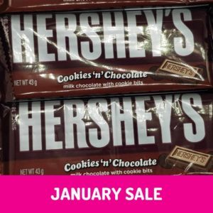 Hersheys cookies and chocolate bar