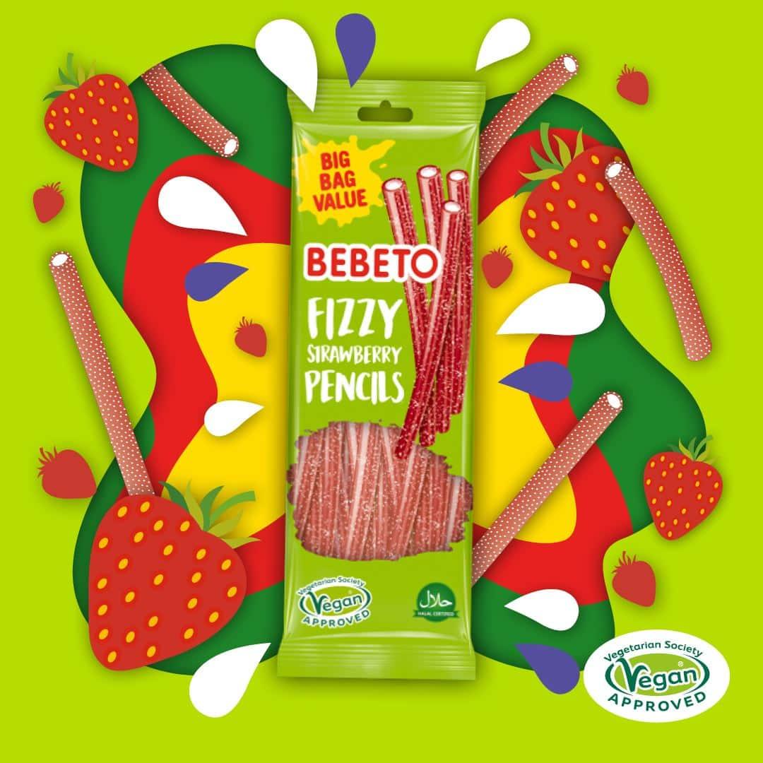 Bebeto Fizzy Strawberry Pencils 220g